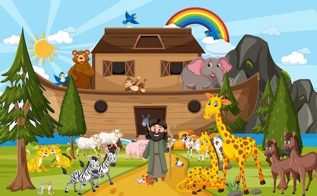 Cena da natureza ao ar livre com a arca de noé com animais