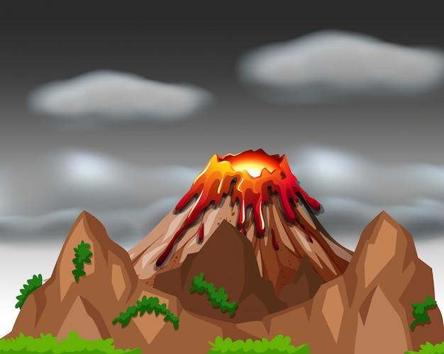 Cena da natureza com a erupção do vulcão