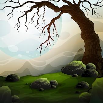Cena da natureza com árvore morta e neblina