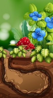 Cena da natureza com buraco subterrâneo e flores