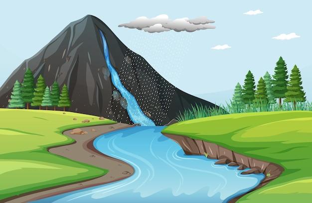 Cena da natureza com cachoeiras de penhasco de pedra