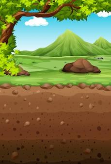 Cena da natureza com campo e subterrâneo