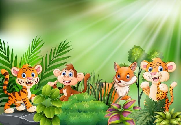 Cena da natureza com desenhos animados de animais selvagens