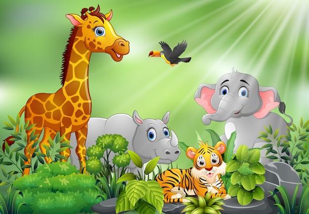 Cena da natureza com desenhos animados de animais