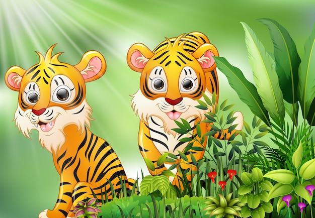 Cena da natureza com dois desenhos animados do tigre