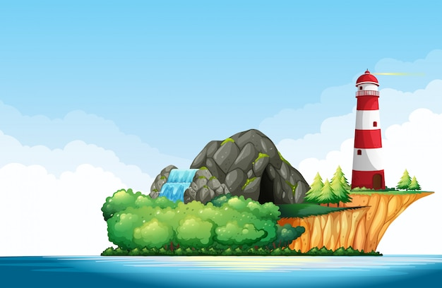 Cena da natureza com farol e caverna na ilha