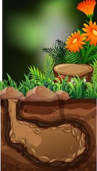 Cena da natureza com flores e buraco no subsolo