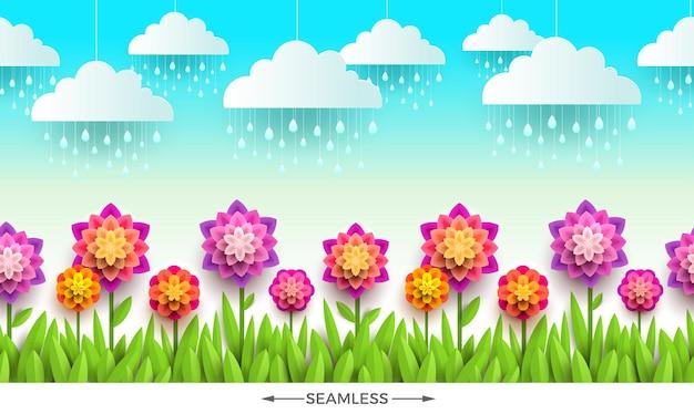 Cena da natureza com flores, grama e nuvens. design sem costura horizontal.