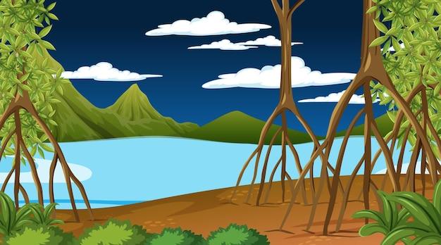 Cena da natureza com floresta de mangue à noite em estilo cartoon