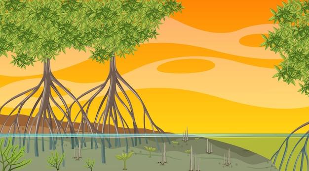 Cena da natureza com floresta de mangue ao pôr do sol no estilo cartoon