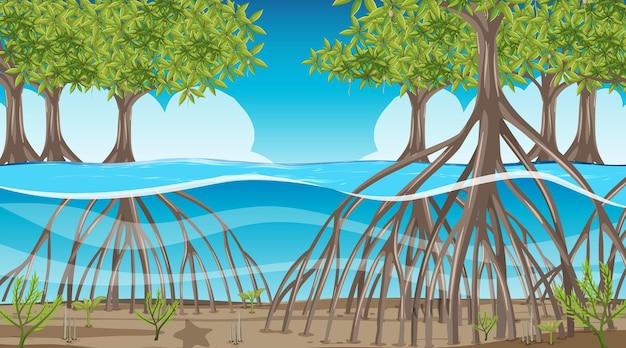 Cena da natureza com floresta de mangue durante o dia em estilo cartoon