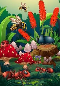 Cena da natureza com insetos no jardim