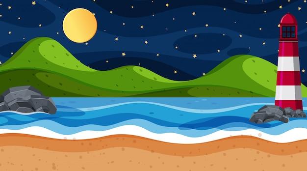 Cena da natureza com o oceano à noite