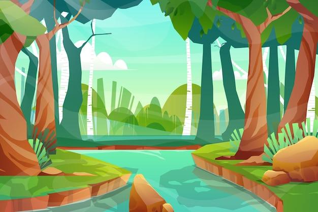 Cena da natureza com pequeno canal entre bosques em floresta natural