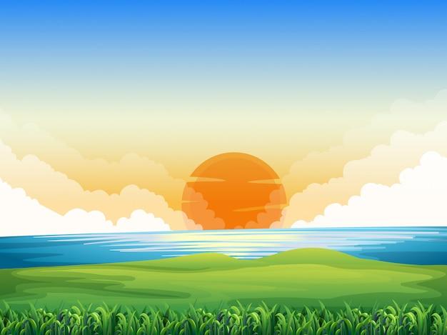 Cena da natureza com pôr do sol