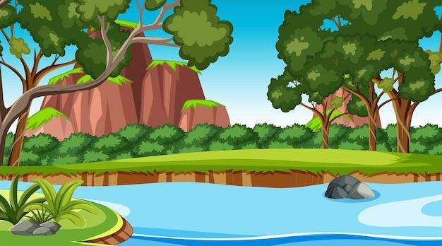 Cena da natureza com riacho fluindo pela floresta