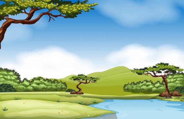 Cena da natureza com rio e campo
