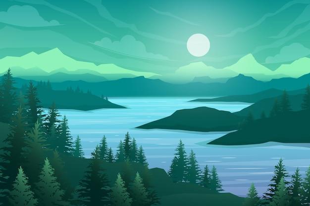 Cena da natureza com rio e colinas, floresta e montanha, ilustração em estilo cartoon plana