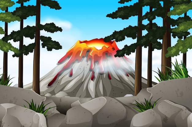 Cena da natureza com vulcão e floresta