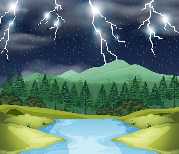 Cena da natureza da noite da tempestade