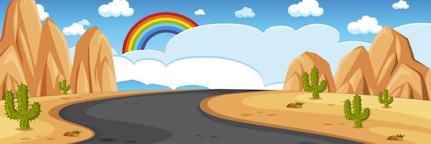Cena da natureza do horizonte ou paisagem campestre com vista do deserto e arco-íris no céu vazio durante o dia