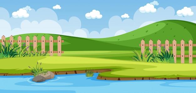 Cena da natureza do horizonte ou paisagem campestre com vista lateral do lago da floresta e céu vazio durante o dia