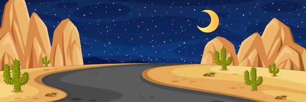 Cena da natureza do horizonte ou paisagem rural com caminho do meio no deserto e lua no céu à noite