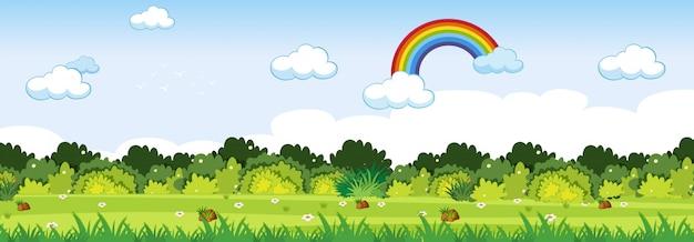Cena da natureza do horizonte ou paisagem rural com vista da floresta e arco-íris no céu vazio durante o dia