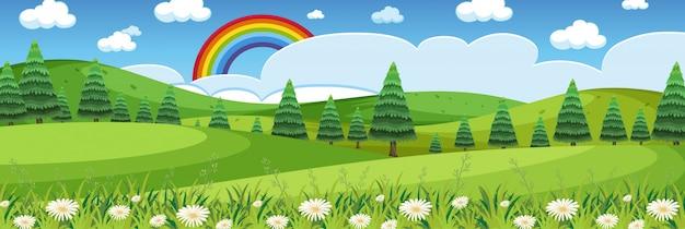 Cena da natureza do horizonte ou paisagem rural com vista para a floresta e arco-íris no céu durante o dia