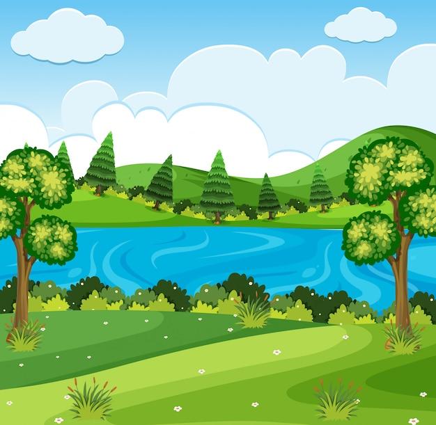 Cena da natureza do parque do rio