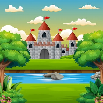 Cena da natureza na frente do fundo do castelo