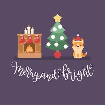 Cena da noite de natal: árvore de natal, lareira com meias e filhote de cachorro corgi welsh