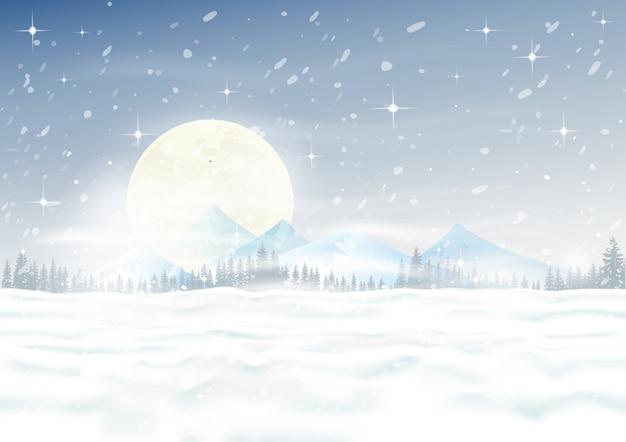 Cena da noite de natal com montes de neve, nevasca, abetos e pinhal