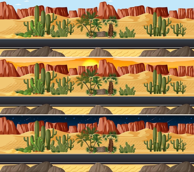 Cena da paisagem da natureza do deserto em diferentes horas do dia