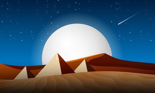 Cena da paisagem da noite do deserto