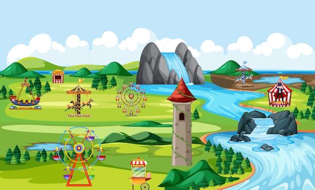 Cena da paisagem do parque natural de diversões temática e cena da paisagem de muitos passeios