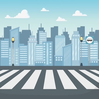 Cena da paisagem urbana com estrada de faixa de pedestres