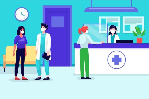 Cena da recepção do hospital