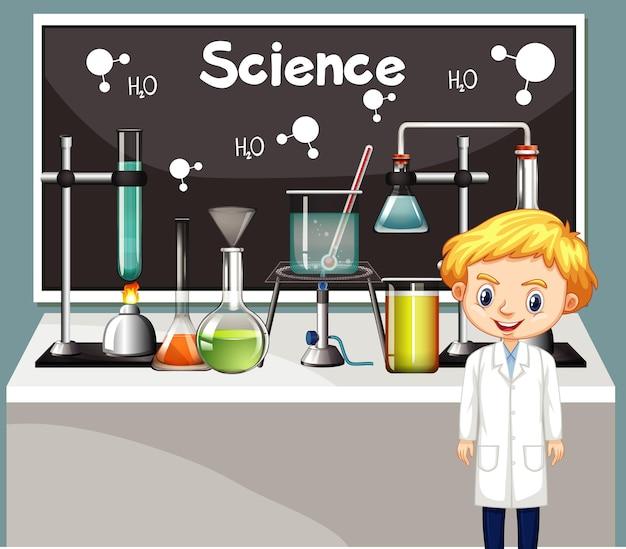 Cena da sala de aula com aluno de ciências e equipamentos