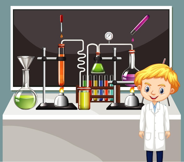 Cena da sala de aula com estudante de ciências e equipamentos