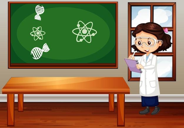 Cena da sala de aula com estudante de ciências escrevendo notas