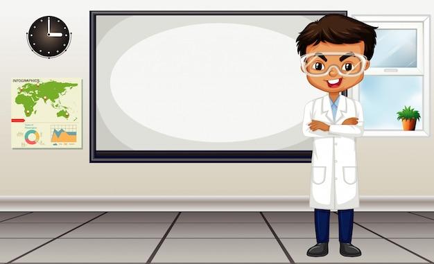 Cena da sala de aula com o professor de ciências em pé pelo quadro