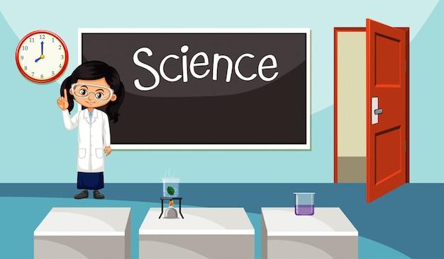 Cena da sala de aula com o professor na frente da aula de ciências