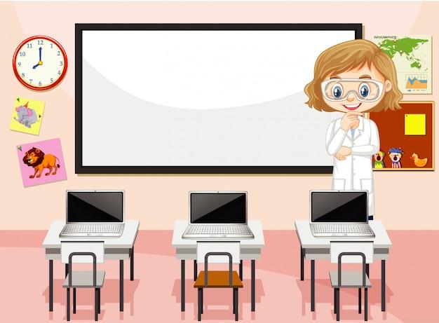 Cena da sala de aula com professor de ciências e computadores