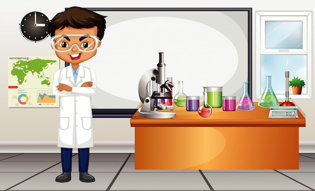 Cena da sala de aula com professor de ciências e equipamentos