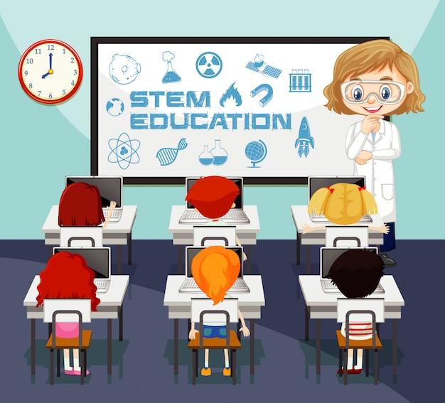 Cena da sala de aula com professor e alunos na sala