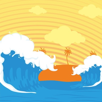 Cena das ondas do oceano