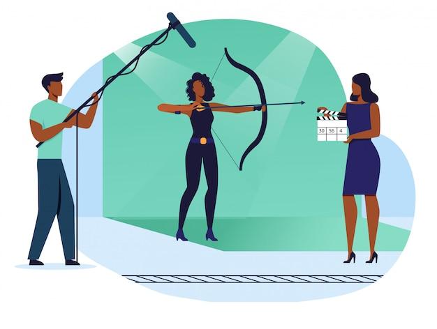 Cena de ação tiro ilustração plana