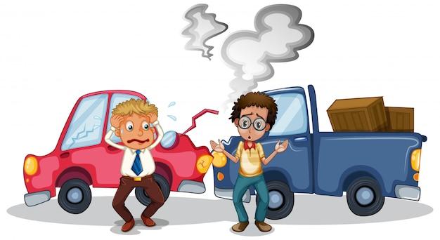 Cena de acidente com acidente de carro