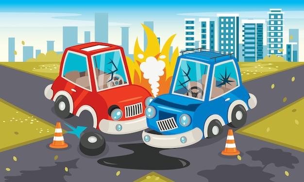 Cena de acidente com um acidente de carro